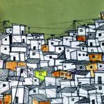 Locojro SkyLine N°3, Acrylique et encres sur papier, 21 x 30 cm, © Obou 2019_BAAB